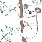 Vector illustration of cute gray koala bear