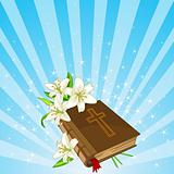 Bible and lily flowers background