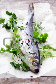 Fish herring on board with parsley and spices