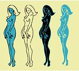 4 emblems variations of beautiful nude woman silhouette