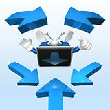 3d television man showing