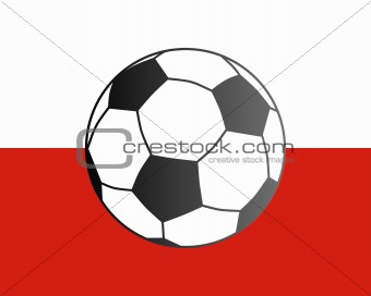 Flag of Poland and soccer ball