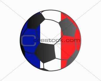 Flag of France and soccer ball