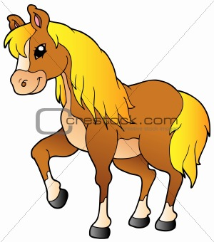 Cartoon walking horse