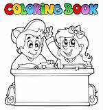 Coloring book with two pupils