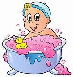Cute bathing baby