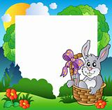 Easter frame with bunny in basket