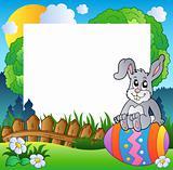 Easter frame with bunny on egg