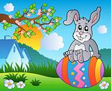 Meadow with bunny on Easter egg