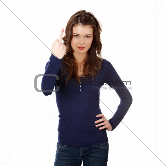 Teen girl with middle finger up
