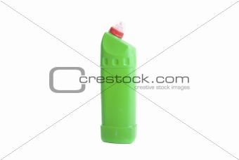 Green cleaning detergent bottle isolated on white