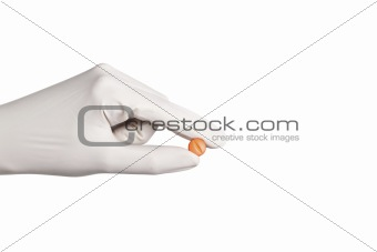 man holding tablet in hand isolaetd on white