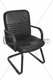 black office chair with wheels on white background