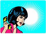 Angry Woman On Phone Retro Clip Art Comics Book style banner