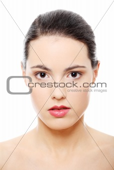Close-up portrait of young beautiful woman face