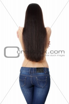 Back of young woman with long hairs