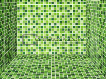 Bright green ceramic Wall and floor