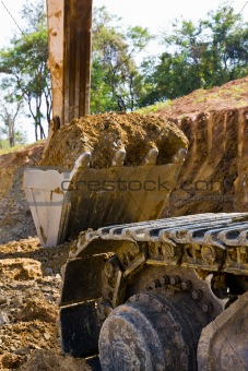 Back hoe standing in mining