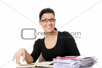 Young student woman learning at the desk