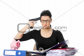Female killing her self while filling out tax forms