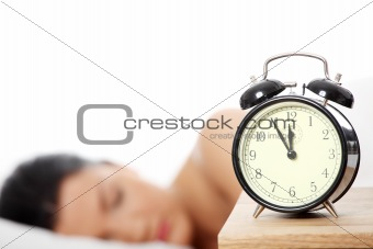 Beautiful caucasian woman sleeping