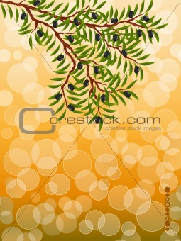 Background with a olive branch. Vector illustration.