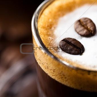 Caffe macchiato close up