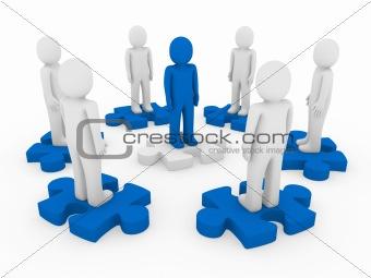 3d men puzzle circle