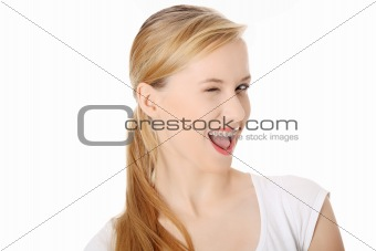 Young student woman with big smile blinking.