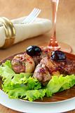 cooked meat duck with berry sauce and salad