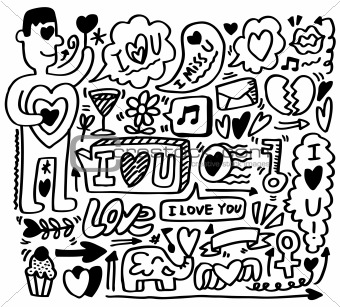 hand draw love element
