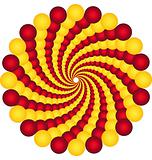 rotating balls.optical illusion