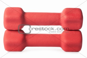 two red barbells