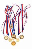Golden medals with tape