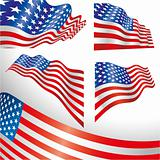 USA windy flags