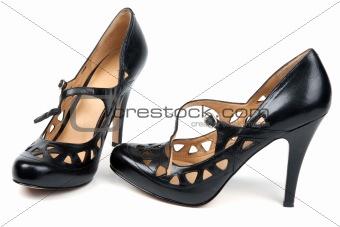 Black feminine loafers on high heel