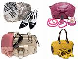Collage from feminine bags, loafers and accessory