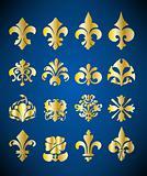 Gold Floral Design Elements.