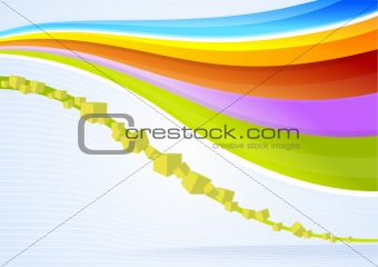 Abstract vector waves and cubes background