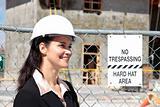 Businesswoman on construction site