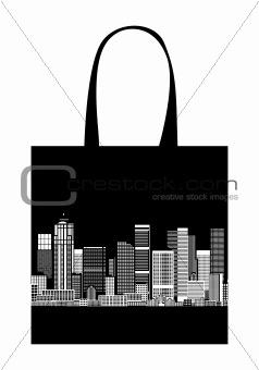 Cityscape, shopping bag design, urban art