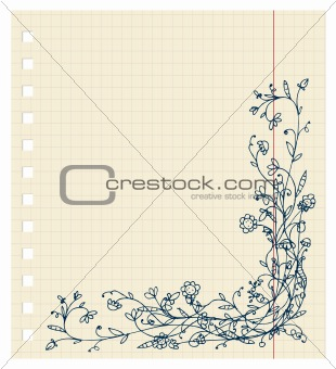 Sketch of floral frame for your design
