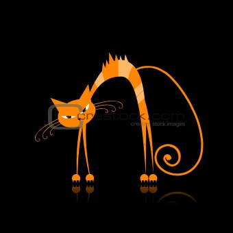 Angry orange striped cat for your design