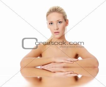 Beautiful young blond caucasian woman