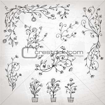 Floral ornament sketch, silhouette for your design