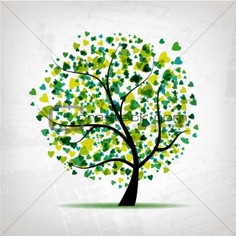 Abstract tree with heart leaf on grunge background for your design