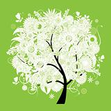 Spring beautiful white tree for your design