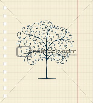 Sketch of tree on notebook sheet for your design