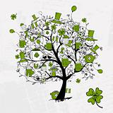 St. Patrick's Day, drawing tree with beer mugs for your design