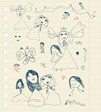 Children's sketch on sheet for your design